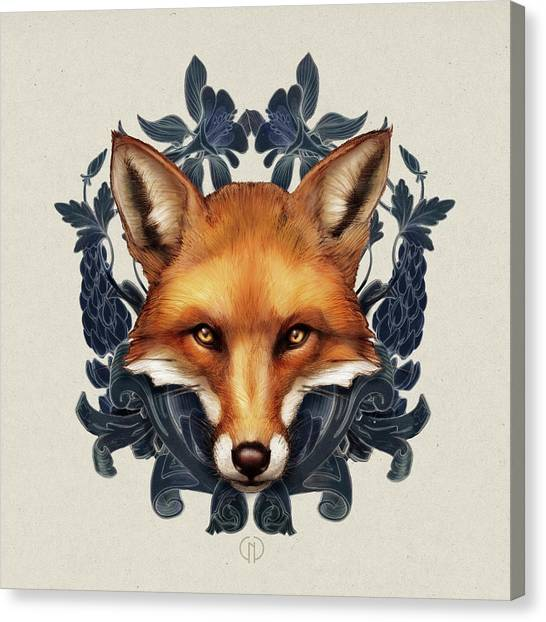Woodland Canvas Print - Fox Embellished by Catherine Noel