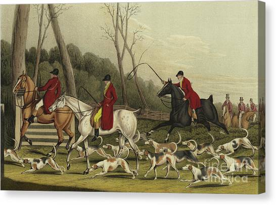 Gent Canvas Print - Fox Hunting Going Into Cover by Henry Thomas Alken