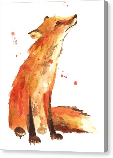 Orange Canvas Print - Fox Painting - Print From Original by Alison Fennell