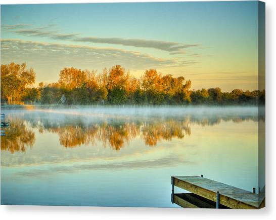 Fox River Above Mchenry Dam At Sunrise Canvas Print