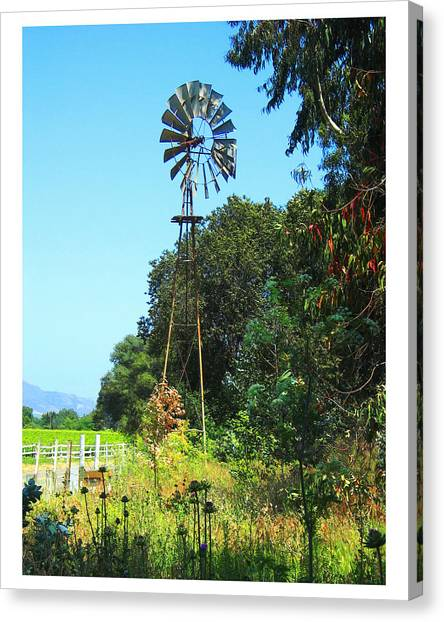 Foxen Adobe Windmill Canvas Print by Deborah Hildinger