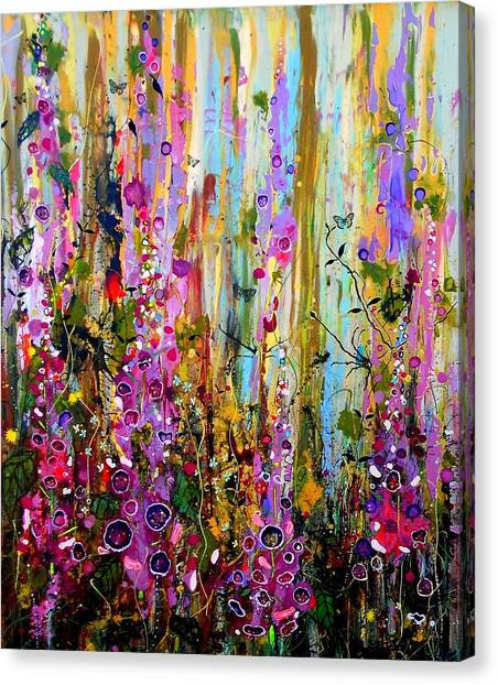 Foxglove Flowers Canvas Print - Foxgloves Panel One by Angie Wright