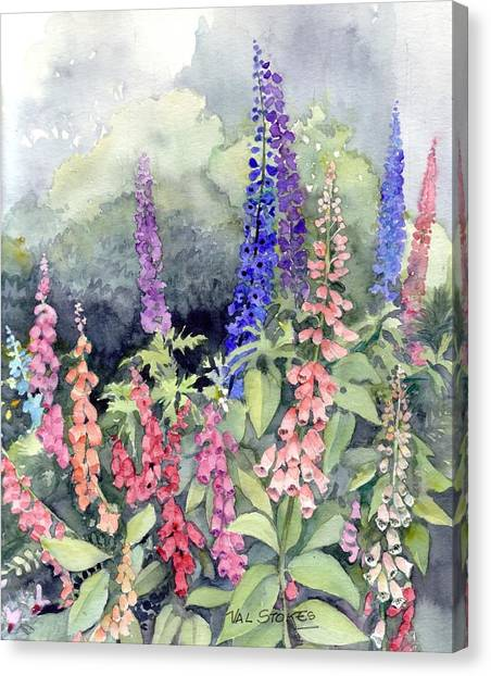 Foxgloves Canvas Print by Val Stokes