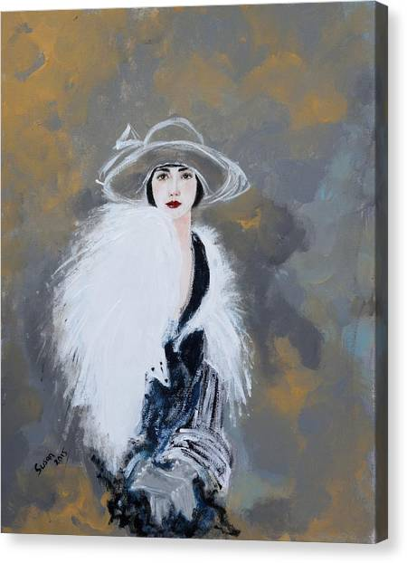 Black Canvas Print - Foxy Lady by Susan Adams