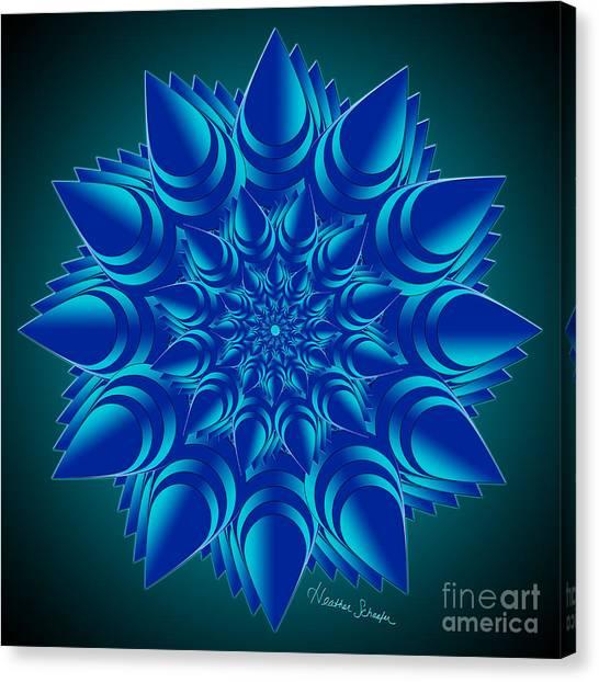 Fractal Flower In Blue Canvas Print