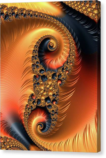 Canvas Print featuring the digital art Fractal Spirals With Warm Colors Orange Coral by Matthias Hauser