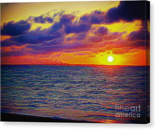 Fire Ball Canvas Print - Fractal Sunset by Patti Whitten