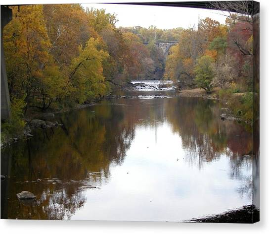 Framed Autumn River Canvas Print