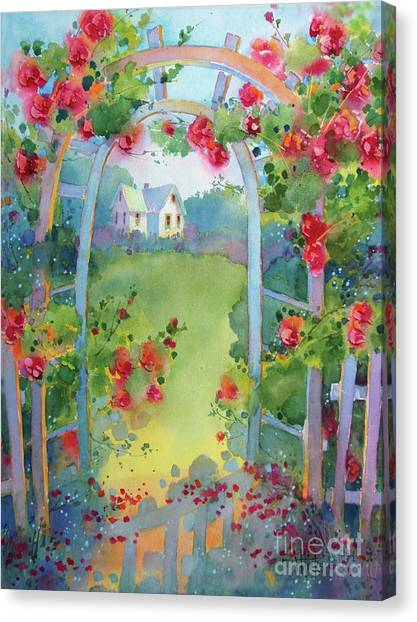 Framed By The Roses Canvas Print