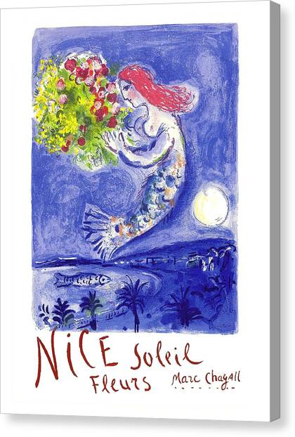 Fleur Canvas Print - France Nice Soleil Fleurs Vintage 1961 Travel Poster By Marc Chagall by Retro Graphics