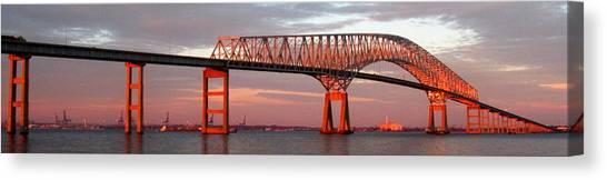 Francis Scott Key Bridge At Sunset Baltimore Maryland Canvas Print by Wayne Higgs