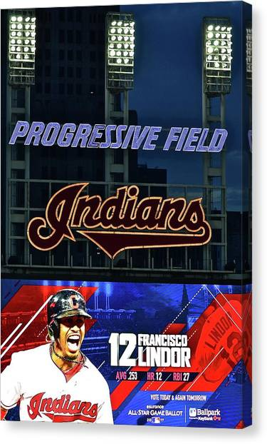 Cleveland Indians Canvas Print - Francisco Lindor by Frozen in Time Fine Art Photography