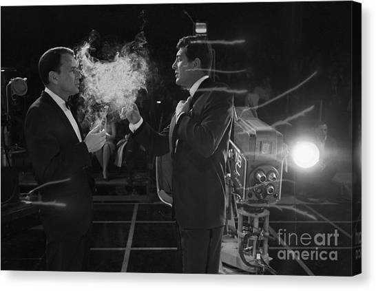 Frank Sinatra Canvas Print - Frank Sinatra And Dean Martin On A Tv Set by The Titanic Project