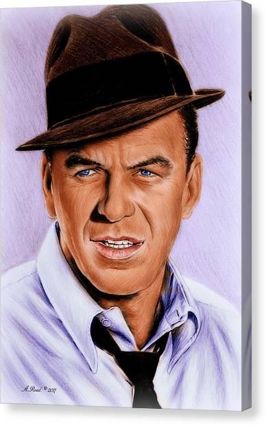 Frank Sinatra Canvas Print - Frank Sinatra Blue Edit by Andrew Read