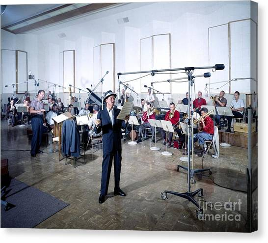 Frank Sinatra Canvas Print - Frank Sinatra - Capitol Records Recording Studio #2 by The Titanic Project