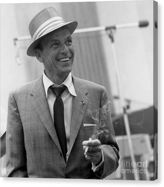 Frank Sinatra Canvas Print - Frank Sinatra - Capitol Records Recording Studio #3 by The Titanic Project