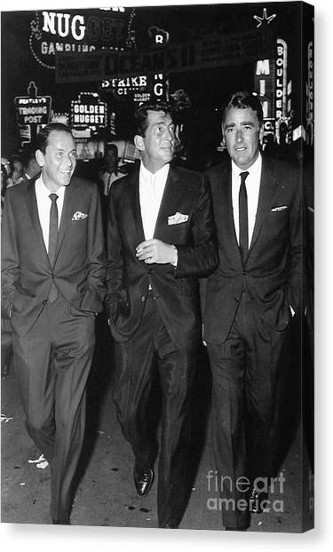 Bishops Canvas Print - Frank Sinatra, Dean Martin And Peter Lawford In Las Vegas Filming Ocean's 11. by The Titanic Project