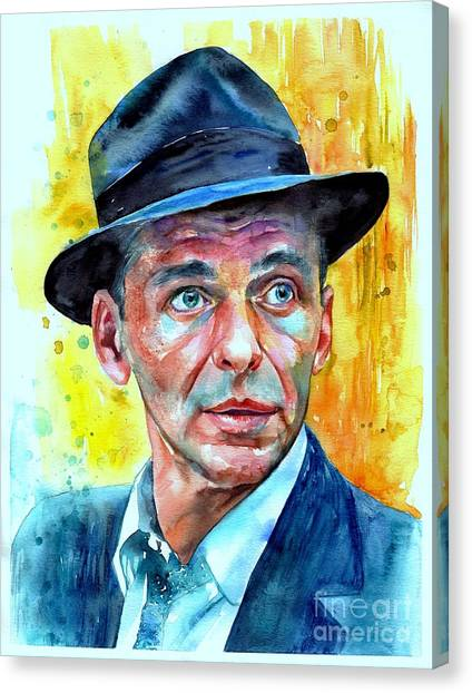 Fauvism Canvas Print - Frank Sinatra In Blue Fedora by Suzann's Art