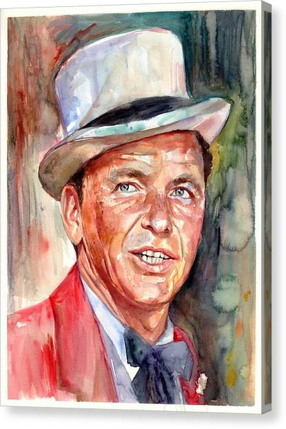 Fauvism Canvas Print - Frank Sinatra Portrait by Suzann's Art