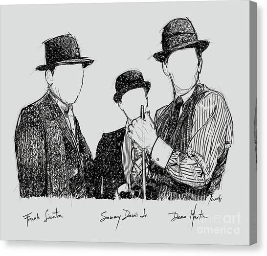 Frank Sinatra Canvas Print - Frank Sinatra, Sammy Davis Jr And Dean Martin, A Part Of The Rat Pack by Pablo Franchi
