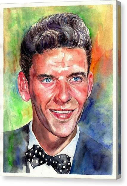 Fauvism Canvas Print - Frank Sinatra Young Watercolor by Suzann's Art