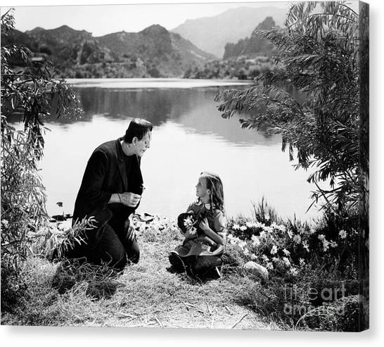 Frankenstein By The Lake With Little Girl Boris Karloff Canvas Print