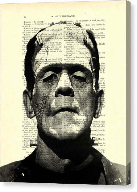 Black And White Canvas Print - Frankenstein On Dictionary Page by Madame Memento