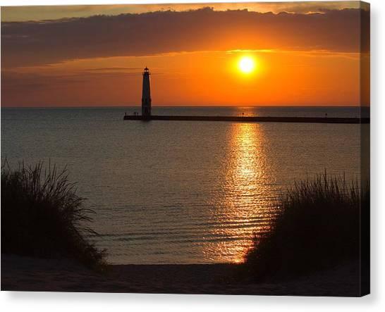 Northern Michigan Canvas Print - Frankfort Michigan Sunset by Twenty Two North Photography