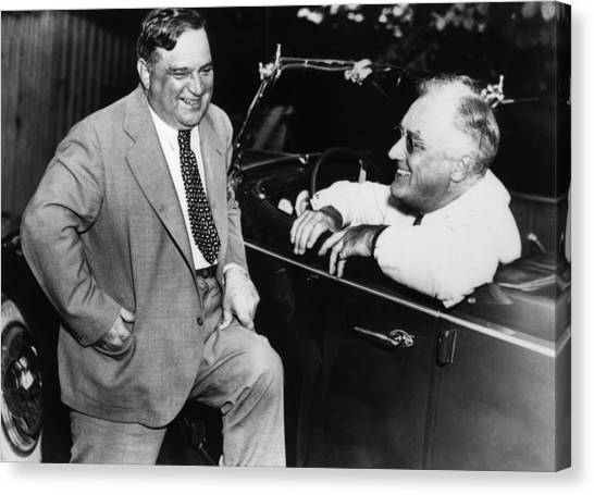 Democratic Politicians Canvas Print - Franklin Roosevelt And Fiorello Laguardia In Hyde Park - 1938 by War Is Hell Store