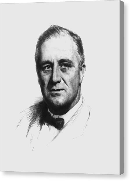 Democratic Canvas Print - Franklin Roosevelt by War Is Hell Store