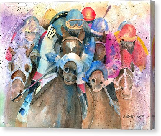 Horseracing Canvas Print - Frantic Finish by Arline Wagner