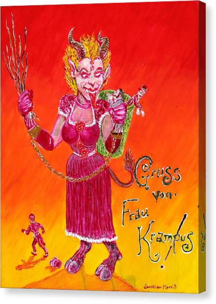 Frau Krampus Canvas Print