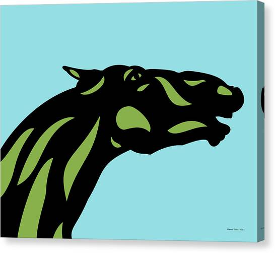 Fred - Pop Art Horse - Black, Greenery, Island Paradise Blue Canvas Print