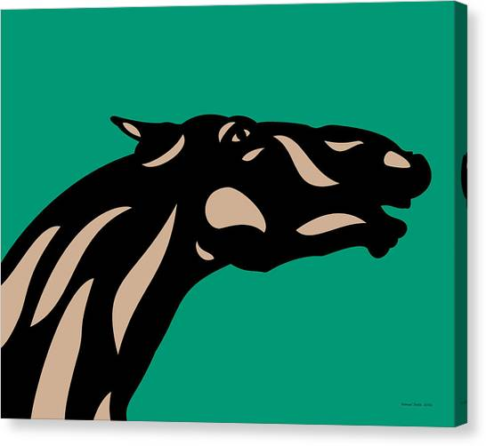 Fred - Pop Art Horse - Black, Hazelnut, Emerald Canvas Print