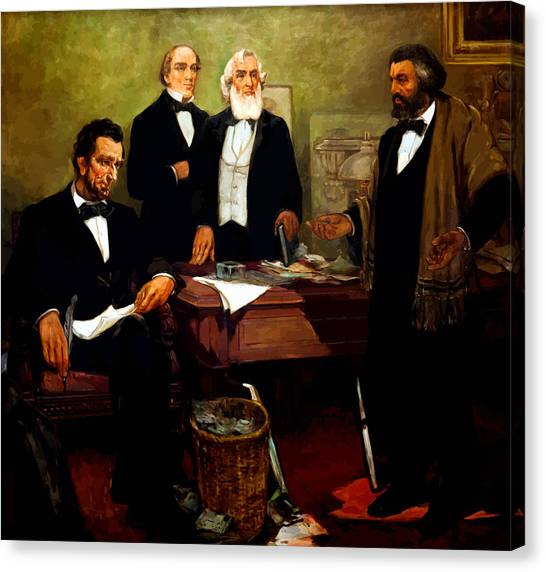 Racism Canvas Print - Frederick Douglass Appealing To President Lincoln by War Is Hell Store