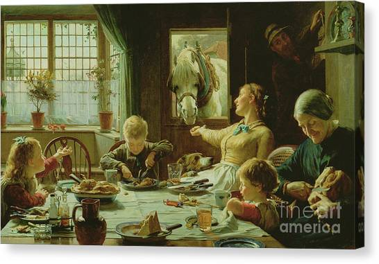 Dinner Table Canvas Print - Frederick George Cotman by One of The Family