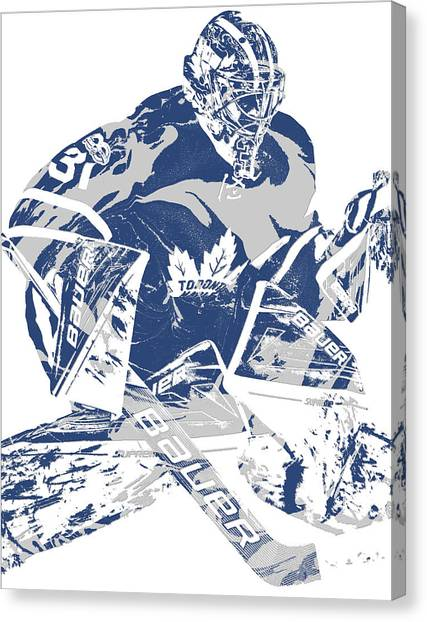 Toronto Maple Leafs Canvas Print - Frederik Andersen Toronto Maple Leafs Pixel Art 2 by Joe Hamilton
