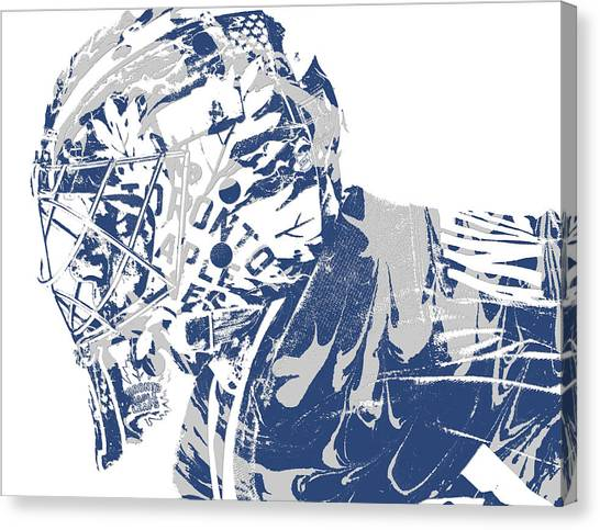 Maple Leaf Art Canvas Print - Frederik Andersen Toronto Maple Leafs Pixel Art 3 by Joe Hamilton