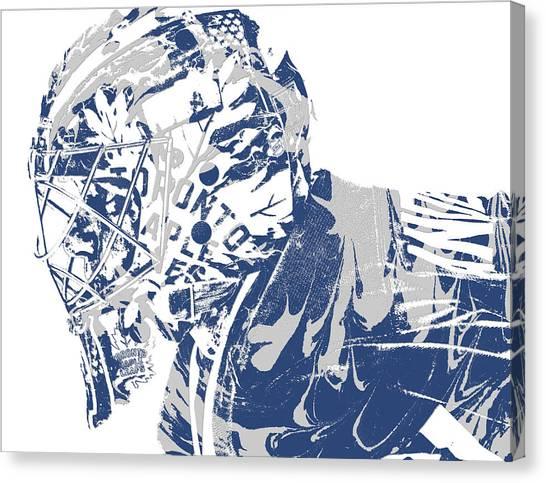 Toronto Maple Leafs Canvas Print - Frederik Andersen Toronto Maple Leafs Pixel Art 3 by Joe Hamilton