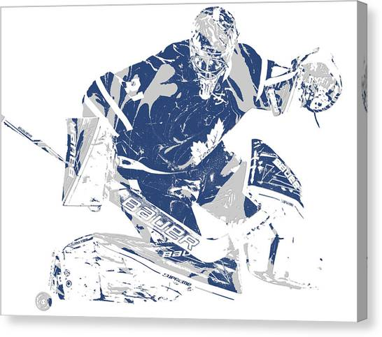 Toronto Maple Leafs Canvas Print - Frederik Andersen Toronto Maple Leafs Pixel Art 5 by Joe Hamilton