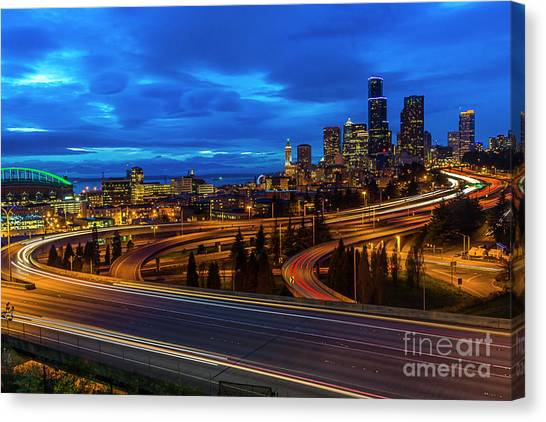 Freeway 5 North To Seattle Canvas Print