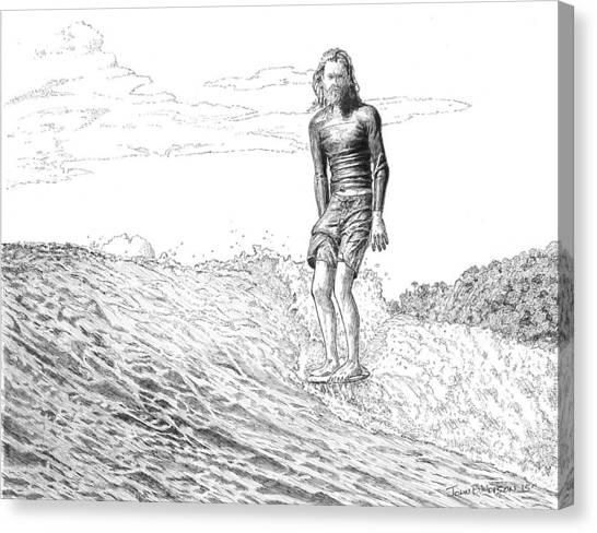Surfboard Canvas Print - Free Surfer by John Hopson