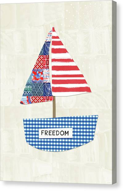 Democratic Canvas Print - Freedom Boat- Art By Linda Woods by Linda Woods