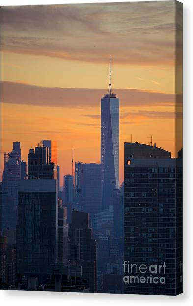 City Sunsets Canvas Print - Freedom Tower At Sunset by Diane Diederich