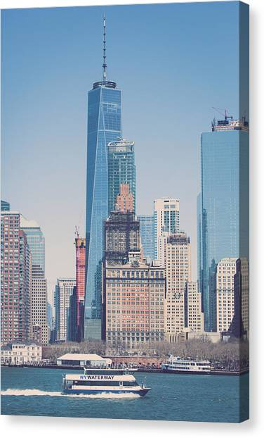 Freedom Tower From The Hudson Canvas Print by Erin Cadigan