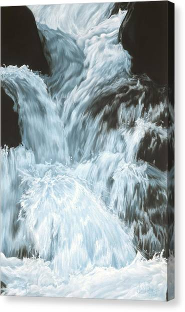 Freefall - Nine Horses Descend The Falls Canvas Print