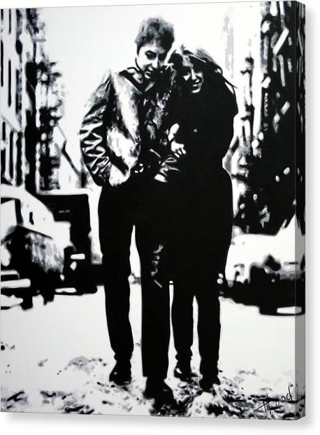 Bob Dylan Canvas Print - Freewheelin by Hood alias Ludzska