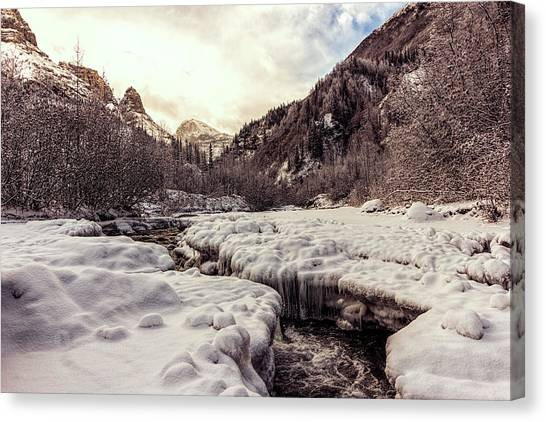 Canvas Print featuring the photograph Freeze-up by Fred Denner