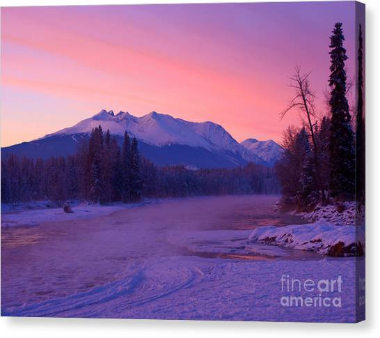 Freezing Under The Glow Canvas Print