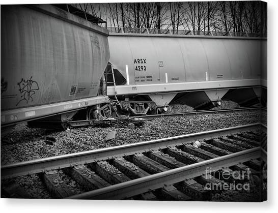 Industrial accidents canvas print freight train wreckage in black and white by paul ward